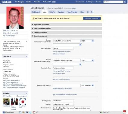 facebook-profiel-opleiding-werk