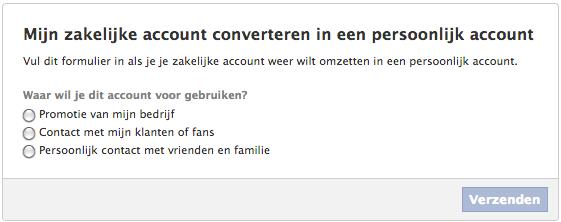 Facebook zakelijk account converteren in persoonlijk profiel