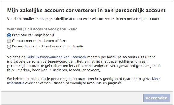 Facebook zakelijk account naar persoonlijk profiel